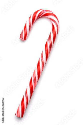 Staande foto Snoepjes Christmas candy cane isolated on white