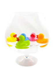 Ducks in glass