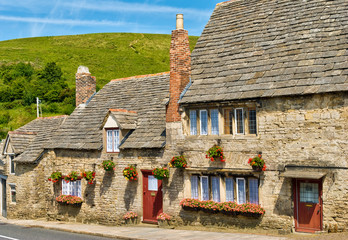 Row of limestone cottages in an English village