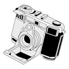 Vintage camera isolated over white square background