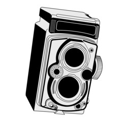Vintage photographic camera isolated over white background