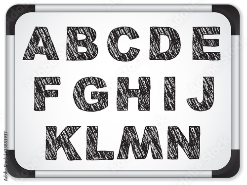Black Alphabet on Whiteboard