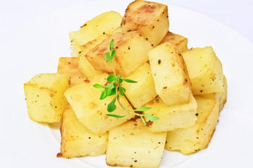 potato cut into dice roasted with salt and pepper I