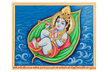 watercolor painting of infant Krishna , Rajasthan, India