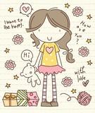 Vector Cute Little Girl with Bear