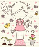 Vector Cute Little Girl with Flower Bunch