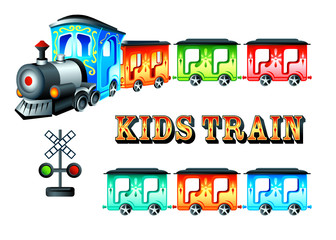 Decorated kids steam train with colorful cars