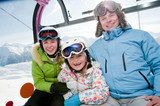 Winter - ski vacation - family in cable car poster