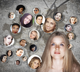 young woman social network