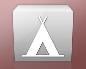 "Box-shaped Icon (red b/g) ""Camping Symbol"""