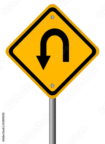 Turn back warning sign, vector illustration