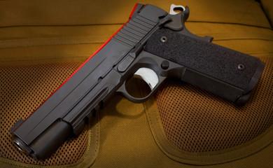 Handgun with red gel