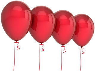 Red balloons birthday party decoration blank arranged in a row