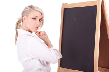 serious young beautiful teacher woman with blackboard