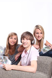 Teenagers listening to CDs