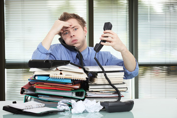 Office worker overworked