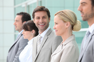 Group of office workers in line