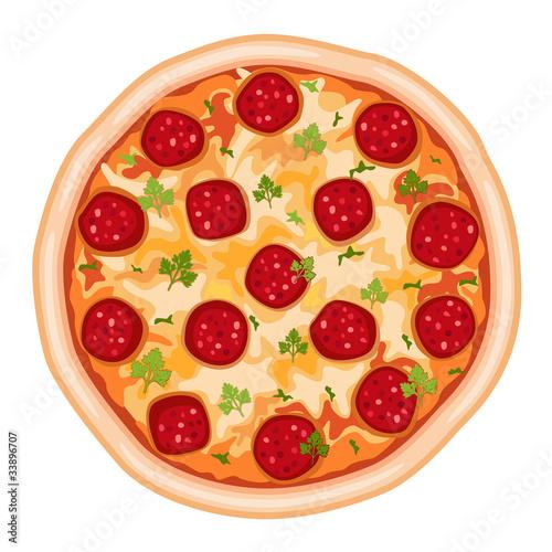 Fotobehang Restaurant Pizza Salami - over white - vector