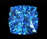 Jewelry gems shape of square. Swiss blue topaz poster