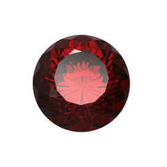 Round garnet isolated. Gemstone