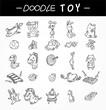 hand draw child toy icons set
