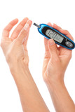 Dependent  Diabetes patient measuring glucose level blood test poster
