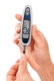 Diabetic measuring glucose level blood test using ultra mini glu poster