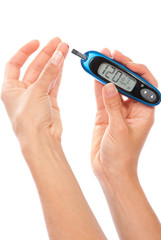 Dependent  Diabetes patient measuring glucose level blood test