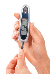 Diabetic measuring glucose level blood test using ultra mini glu