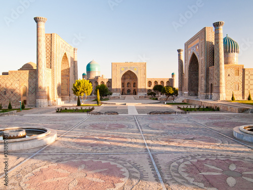 Sunrise above Registan complex, Uzbekistan