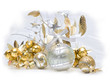 Christmas ball baubles with gold decoration, isolated