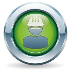 Bauarbeiter - Button grün