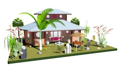 Casa con Giardino Tropicale-House with Exotic Garden-3D