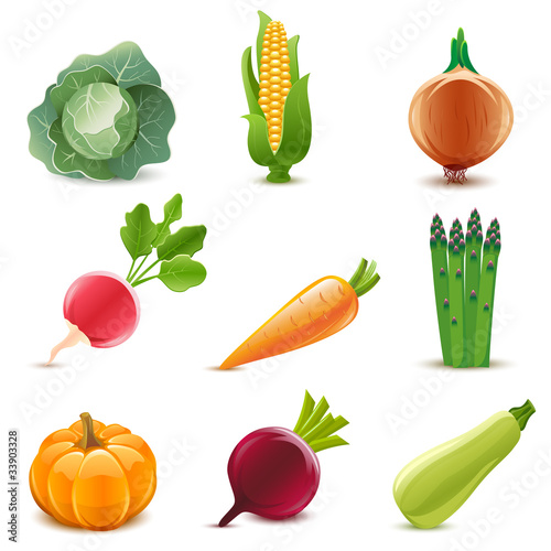 Glossy vegetable set