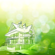 House design, plans & green bokeh background