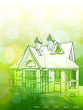 architecture design & green bokeh background