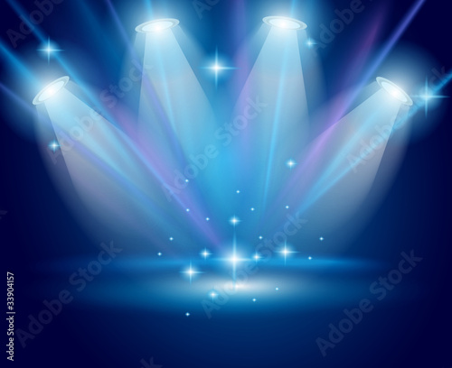 Magic Spotlights with Blue rays and glowing effect