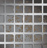 Metallic square fence background.