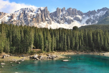 Lake Carezza and Dolomites Alps, Italy
