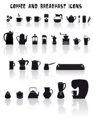 set di icone per la colazione, tazze e attrezzi per tè e caffé