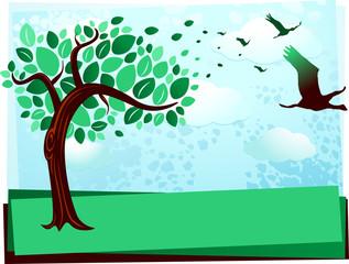Tree and birds in flight