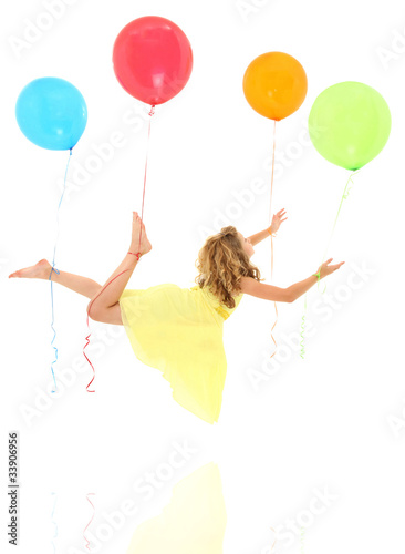 Girl Child Floating Away with Balloons Clipping Path