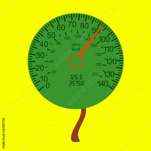 car speedometer as the tree crown