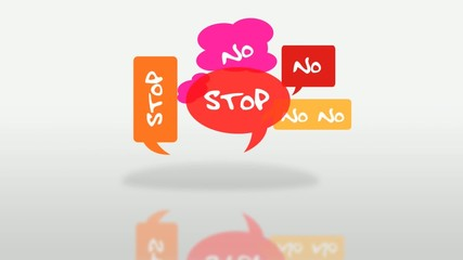 Say No and Stop colored bubbles protest cartoon animation