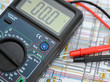 Technology background, digital multimeter