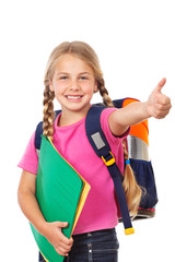 education, girl schoolbag and thumb up