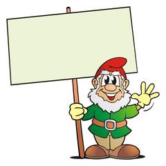 Garden Gnome with Board