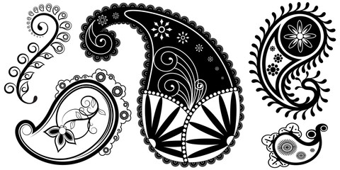 Awesome Ornate Design Of Paisley Vector Elements