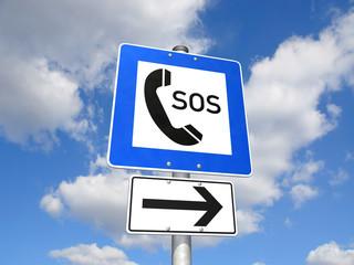 Schild SOS-Telefon