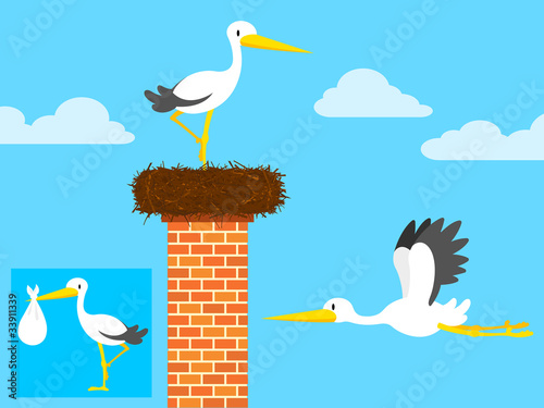 cartoon stork in nest on chimney and flying